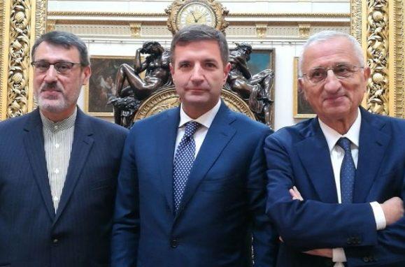 SE Hamid Baeidinejad, Ambasciatore dell'Iran in UK — dott. Diego Biasi, Amministratore Delegato Quercus — Ing. Vito Gamberale,. Presidente Quercus